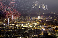 Fireworks of Taipei city. In Taiwan Stock Images