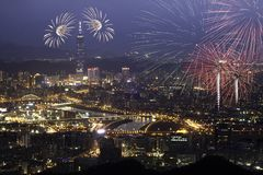 Fireworks of Taipei city Stock Photography