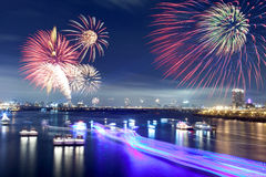 Fireworks of Taipei city. In Taiwan Stock Image
