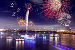 Fireworks of Taipei city. In Taiwan Stock Photo