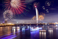Fireworks of Taipei city. In Taiwan Royalty Free Stock Photos