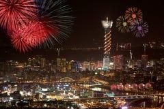 Fireworks of Taipei city Stock Photos