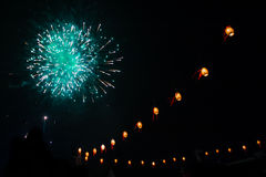 Fireworks and Tanglung Stock Images