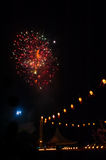 Fireworks and Tanglung Stock Photo