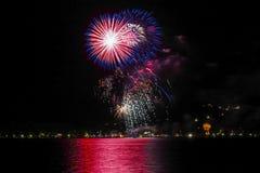 Fireworks in Bad Wiessee, Lake Tegernsee Royalty Free Stock Photo