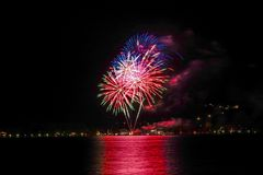 Fireworks in Bad Wiessee, Lake Tegernsee Stock Photography
