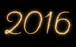 Fireworks text New Year 2016 Stock Photography