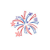 Fireworks, 4th of July, sketch, vector illustration. Vector illustration of fireworks in sketch style Royalty Free Stock Photos