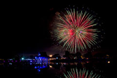 Fireworks at thai wooden temple architecture Stock Images
