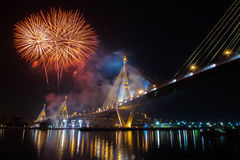 Fireworks in thailand long live the king Stock Images