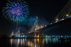 Fireworks in thailand long live the king Royalty Free Stock Photography