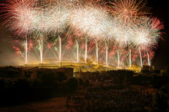 Fireworks three. The most beautiful fireworks French, to the city of Carcassonne Stock Image