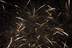Fireworks in Time Lapse. Fireworks in the sky shown in time lapse with light streams showing many colors Stock Photos