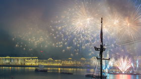 Fireworks timelapse over the city of St. Petersburg Russia on the feast of Scarlet Sails, view from roof. Fireworks timelapse over the city of St. Petersburg ( stock footage