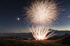 Fireworks on the top of the mountain Stock Image