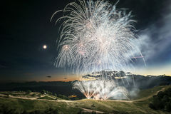 Fireworks on the top of the mountain Royalty Free Stock Photos