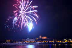 Fireworks in Toruń Royalty Free Stock Images