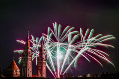 Fireworks and towers Royalty Free Stock Images