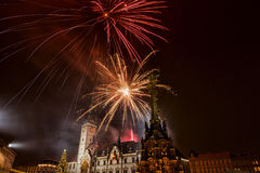 Fireworks. In town, Vatan new year Stock Images