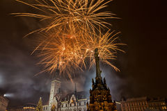 Fireworks. In town, Vatan new year Royalty Free Stock Photos