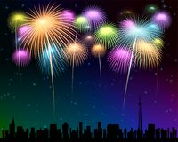 Fireworks Townscape back image illustration Stock Photos