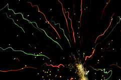 Fireworks trails champagne colors Royalty Free Stock Photos