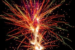 Fireworks trails volcano colours Royalty Free Stock Photo