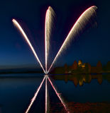 Fireworks in Trakai, Lithuania. Trakai Castle at night - Island castle in Trakai is a museum and a cultural center, Lithuania. Fir royalty free stock photography