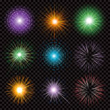 Fireworks transparency isolated on black background. Fireworks vector collection transparency isolated on black background Royalty Free Stock Images