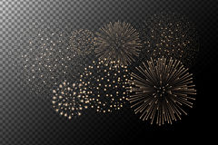 Fireworks  on transparent background. Independence day concept. Festive and holidays background. Vector illustration Stock Images