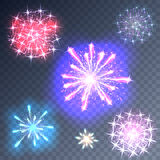 Fireworks on a transparent background. Set of fireworks on a transparent background. Vector Royalty Free Stock Images