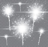 Fireworks on Transparent Background. Vector Illustration Stock Image
