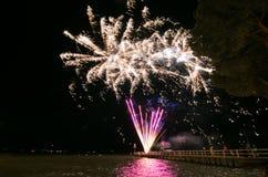 Fireworks on Trasimeno lake Royalty Free Stock Image