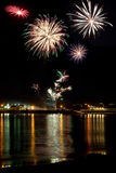 Fireworks at Trearddur bay Royalty Free Stock Image