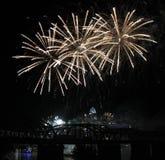 Fireworks Trio Over the Cincinnati Skyline Stock Photography