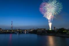 Fireworks at Tsurumi, Japan Royalty Free Stock Photography