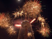 Fireworks on TV tower. New year coming to Lithuania Stock Photos
