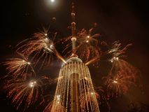 Fireworks on TV tower. New year coming to Lithuania. Vilnius TV tower Stock Photos
