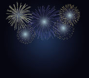 Fireworks. On twilight background with copy space at the under area of image. Design for celebration event in vector illustration royalty free illustration
