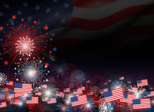 Fireworks on at twilight background design for 4 july Stock Photos