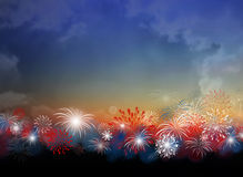 Fireworks at twilight background design for 4 july Royalty Free Stock Photos