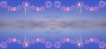 Fireworks on twilight sky background stock photography