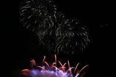 Fireworks two parts in the night. For celebration Stock Photo