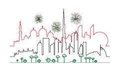 Fireworks in UAE Dubai and Abu-Dhabi cities in national flag col Royalty Free Stock Photo