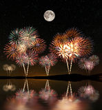 Fireworks under the starry sky Stock Images