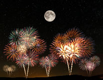 Fireworks under the starry sky Royalty Free Stock Photography