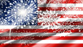 Fireworks and USA flag background. For design work Royalty Free Stock Photos