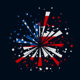 Fireworks with USA flag. Big red and blue firework with USA flag inside Stock Photo