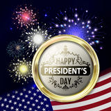 Fireworks with usa flag and gold emblem for presidents day. Template for usa holidays like president day, mlk day, 4th july  etc. Night holiday sky with salute Stock Photography