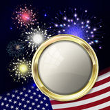 Fireworks with usa flag and gold emblem for text. Template for u. Sa holidays like mlk day, 4th july  etc. Night holiday sky with salute for usa in vector Stock Photo